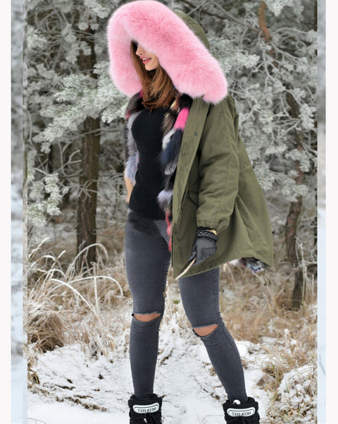 Roiii Thickened Warm Pink Faux Fur  Warm Parka Fashion Women Big Hooded Top Winter Jacket Coat  Overcoat US SIZE S- L XL XXL 3XL