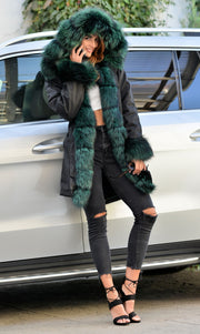Roiii Thickened Warm Peacock Green Faux Fur Thicken Warm Parka Casual Fashion Women Hooded Long Winter Jacket Coat Overcoat