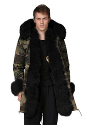 Man Black Fur Camouflage Jacket Overcoat