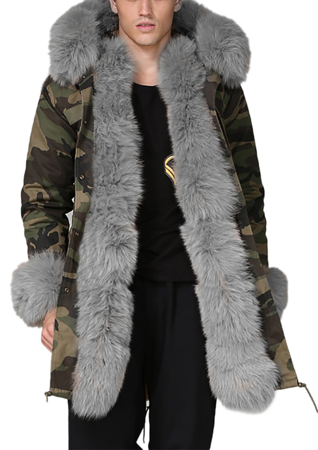 Man Grey Fur Green Camouflage Jacket Hot