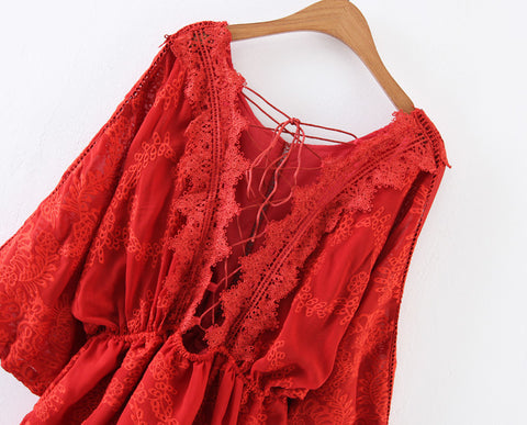 Deep V-neck Full Body Embroidery Bandage Waist Pullover Dress