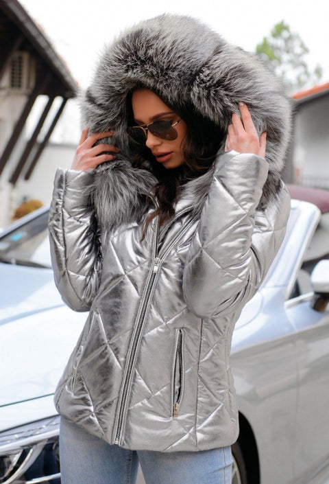 Roiii Women  Winter Short Faux Fur Hood Down Coat Lady Thicken Puffer Slim Zipper Jacket Parka