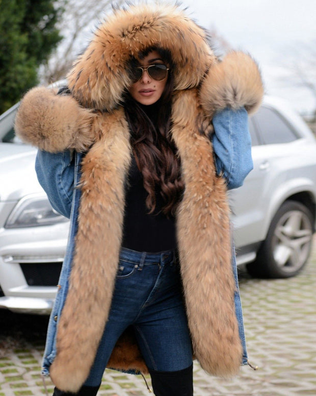 Women's Winter Faux Fur Hooded Cowboy Plus Size Parka Jacket Coat