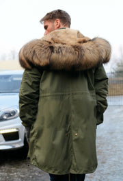 Men Brown Faux Fur Button Closed Over wear Green Winter Jacket