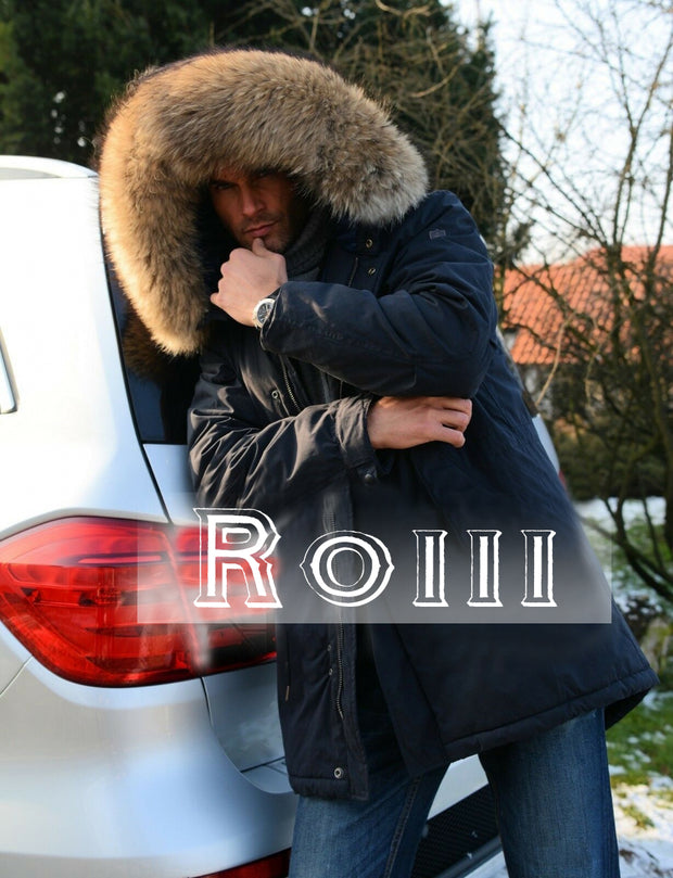 Roiii Mens Winter Warm Thick Brown Faux Fur Slim Trench Coat Long Jacket