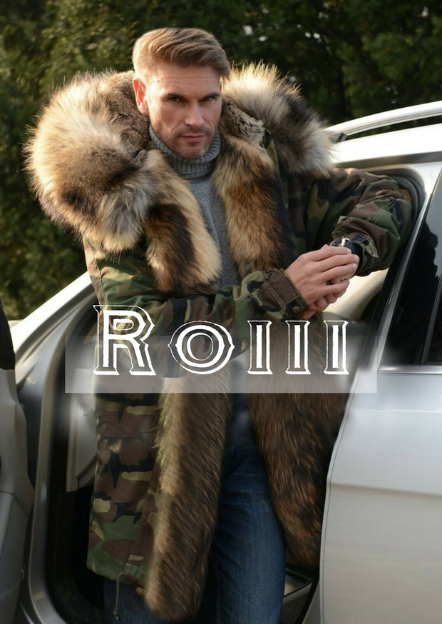 Roiii Men's Casual Faux Fur Hood Thicken Winter Coat Lightweight Snow Jacket Parka