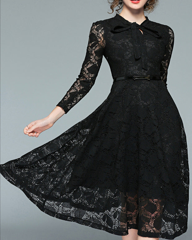 ROIII Stand Collar Bow Tie Neck Long Sleeve Lace Dress