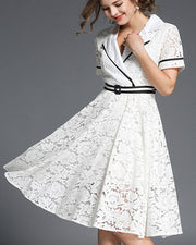 White Stripped Trim V Neck Office Lady Lace Dress