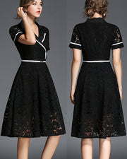 Roiii  summer V - neck lace slim cocktail dress black color