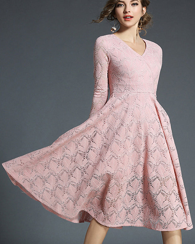 ROIII Sweet Pink Lace V Neck Long Dress