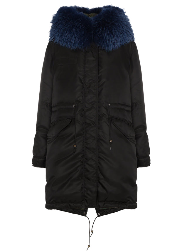 Blue Fur Women Down Coat