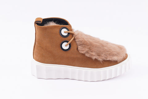 Roiii Winter Women Warm Fur Leather Snow Winter Boot Shoe
