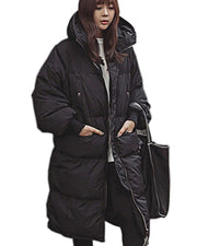 ROIII Women Winter Down Jacket Hooded  Quilt Outerwear