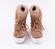 Roiii Winter Women Warm Fur Leather Snow Ski Winter Boot Shoe