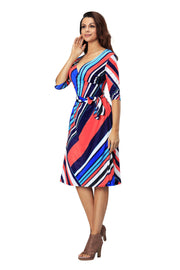 Women Casual 3/4 Sleeve V Neck Adjustable Loose  Plus Size Multi Beach Dress