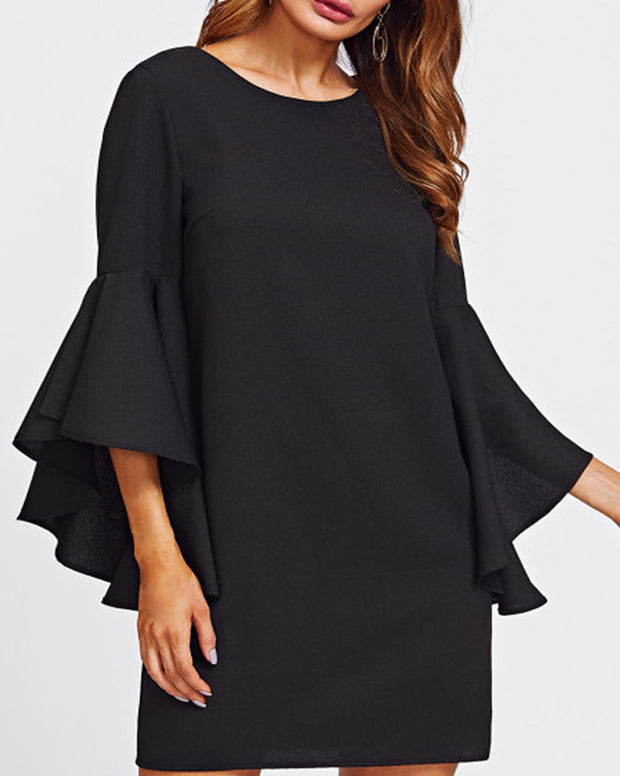ROIII Asymmetrical Ruffle Flounce Sleeve Chiffon Dress