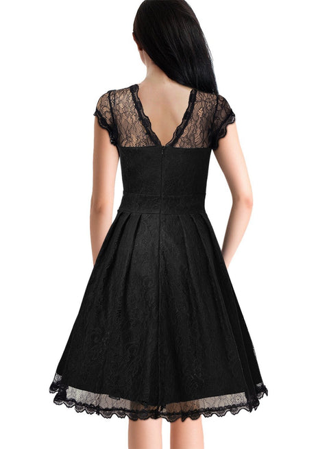 Roiii New Short Sleeve Lace Dress
