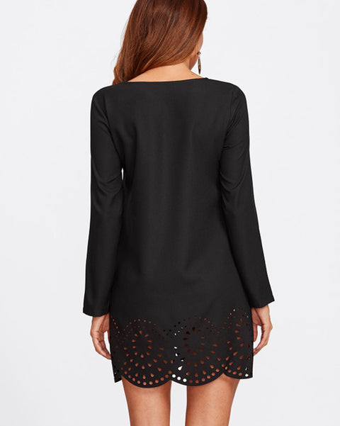 ROIII Cut Out Scallop Hem Leisure Chiffon Top Black Mini Dress