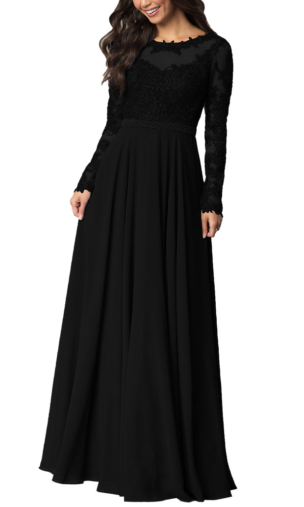 Women's Vintage Long Sleeve Floral Chiffon High Waist Party Evening Dress Formal Prom Skirt