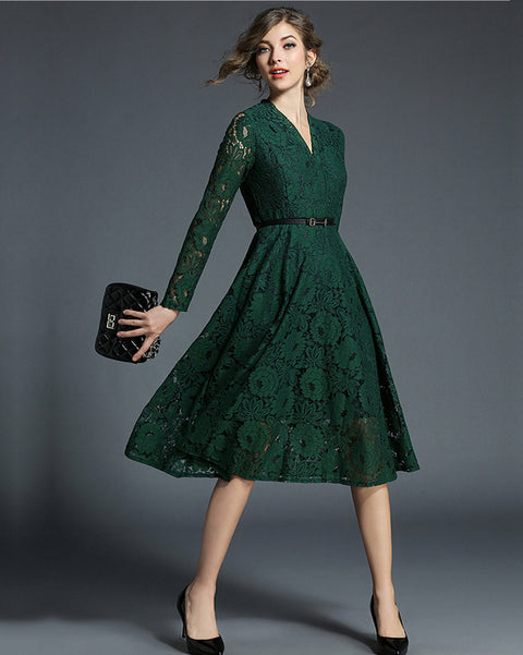 ROIII Fashion Green Lace V Neck Office Lady Dress