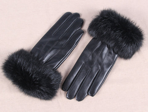 Roiii Faux Fur Women Winter Fleece Leather Glove