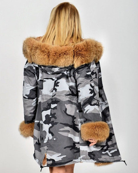 Roiii Thickened Warm Brown camouflage Faux Fur Fashion Warm Parka Women Hooded Long Winter Jacket Coat Overcoat Size S-M XL 3XL