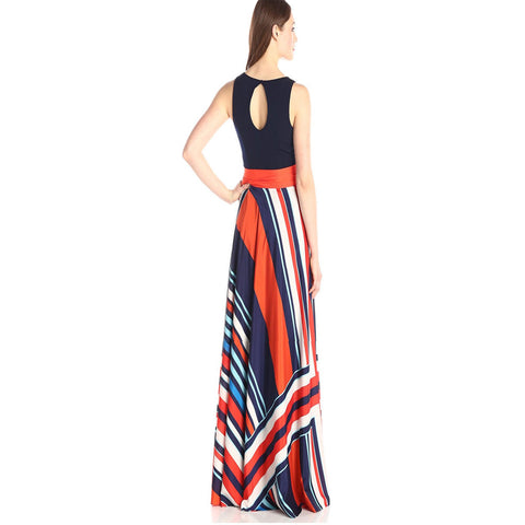 Roiii Summer Women Boho Striped Sashes Sleeves High Waist Turtleneck  Long Dress Evening Party Plus Size Vestidos