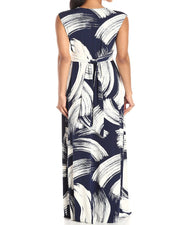 Roiii PLUS SIZE Ladies V Neck Maxi Summer Casual Sleeveless Long Skirt Evening Cocktail Party Beach Dress Size S-3XL(36-50)