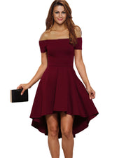Roiii summer Sexy one-character collar slim A - character dresses Wine red