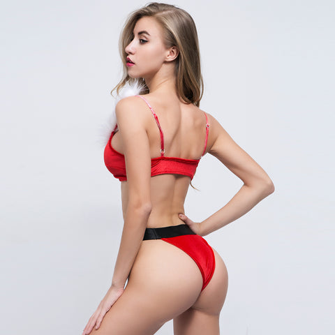 ROIII fashion v-neck red color two-piece bikini