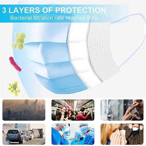 Disposable CE Certification 50 PCS Filter 3-ply Face Mask Personal Protection Dust-Proof Anti Spittle Eye Mask