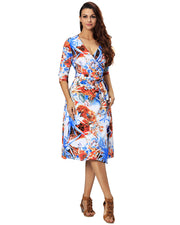 Women Casual 3/4 Sleeve V Neck Adjustable Loose Tie Waist Boho Midi Wrap Dress