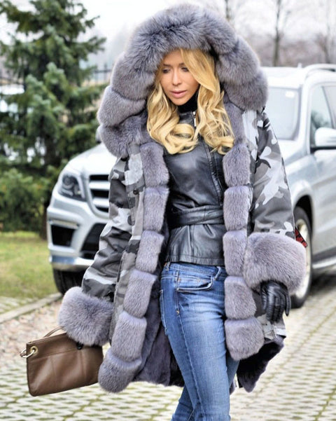 Roiii Thickened Grey Warm Military Amry Style Faux Fur Camouflage Casual  Parka Hood Women Hooded Long Winter Jacket Overcoat