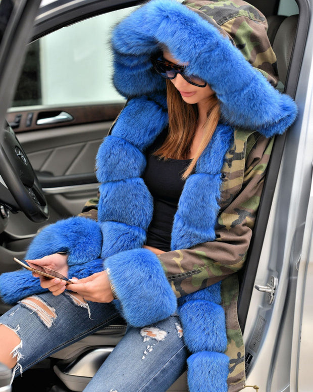 Blue Faux Fur Camouflage Jacket Coat