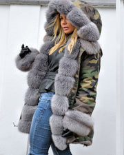 Roiii Thickened Grey Warm Loose  Camouflage Faux Fur Casual Parka Hood Women Hooded Long Winter Jacket Overcoat EU Size 36-50