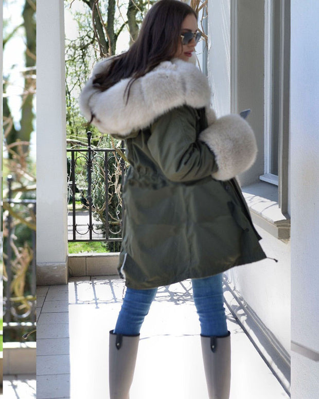 Roiii Thicken Warm Faux Fur Warm Parka Milk White Women Hooded Hip Top Winter Button Jacket Coat Overcoat Size 36-40-48-50