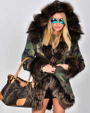 Roiii Women's Warm Camouflage Casual Winter Warm Faux Fur Hooded Plus Size Parka Jacket Coat US Size S M L XL XXL 3XL