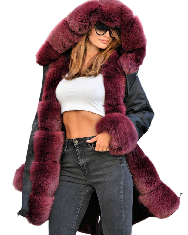 Roiii Women's Thicken Warm Luxury Casual Winter Wine Faux Fur Hooded Plus Size Parka Jacket Coat EU Size 36 38 40 42 44 46 48 50