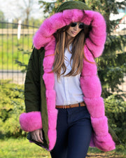 ROIII Ladies Pomp Fur Collar Parka Winter Coat Padded Lined Jacket