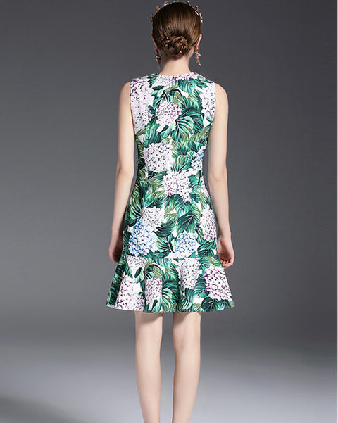 Roiii Casual Womens Sleeveless  Prairie Chic Spring Dress Floral Print Elegant Sweet Short Female Dresses Party Evening Vestidos