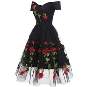 Black Lace Rose Dresses