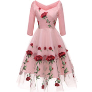 Roiii Pink Rose Lace Dress New Arrivals