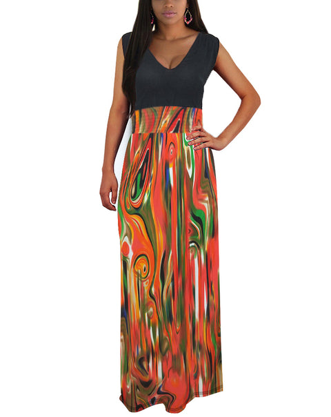 Women Summer Casual V-neck Maxi Dress Boho Beach Long Skirt Sundress