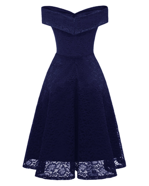 New Slash Neck Lace Vintage Dresses