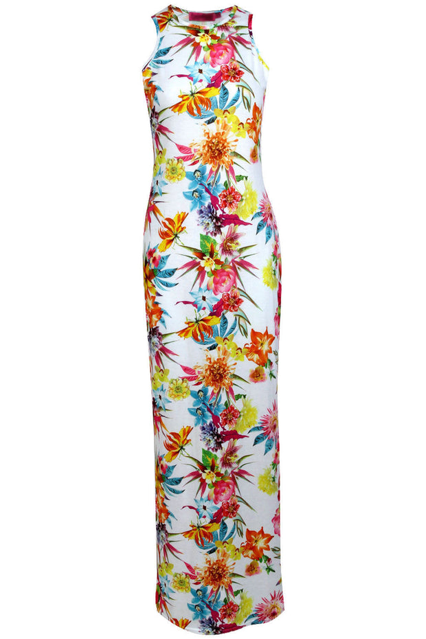 Roiii Boho Women Summer Beach Dress Bodycon Sleeveless Floral Print Long Bohemian Pary Evening Dresses Holiday Casual Wear S-2XL