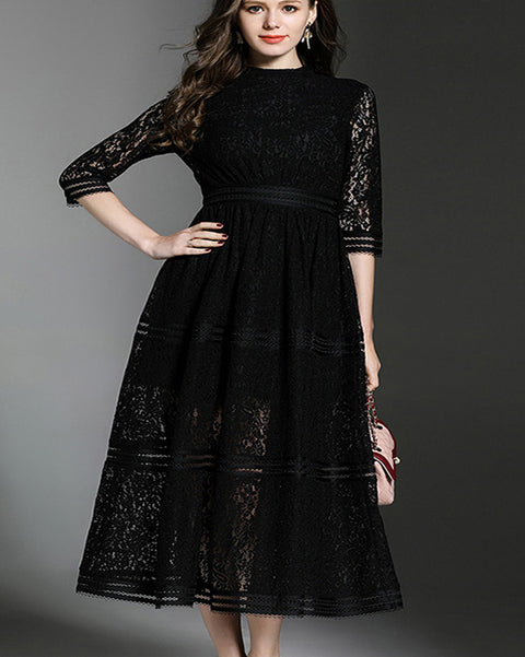 ROIII A line striped Frill Lace Dress Black Color