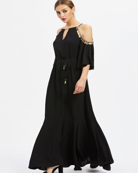 Women Sequins Trim Cold Shoulder Drawstring Long Dresses