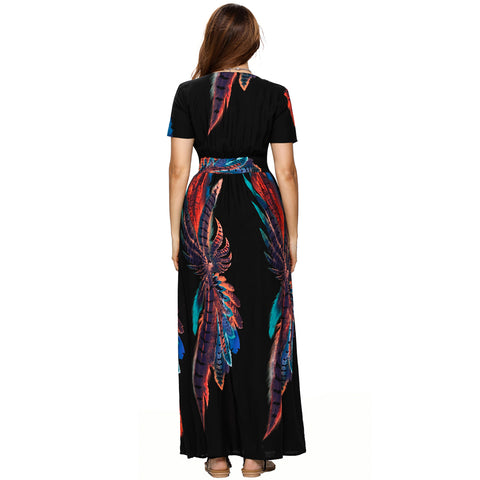 Roiii Women Vintage Phoenix Print Split Summer High Waist Button Beach Short Sleeve V neck Long Maxi Dress Size S M L XL XXL 3XL