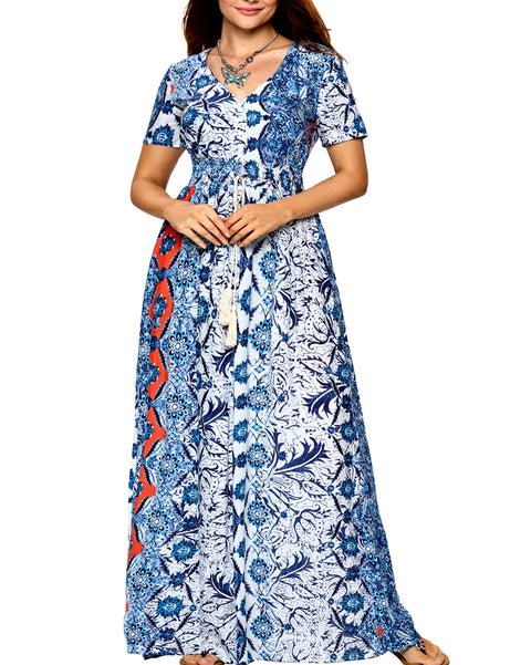 Roiii Women Vintage Blue Print Split Summer High Waist Button Beach Short Sleeve V neck Long Maxi Dress Size 36 38 40 42 44 50
