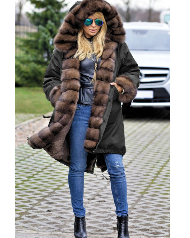 Roiii Thickened Warm Cafe Brown Thicken Faux Fur Fashion Warm Parka Women Hooded Long Winter Jacket Coat Overcoat Snow Wear Coat